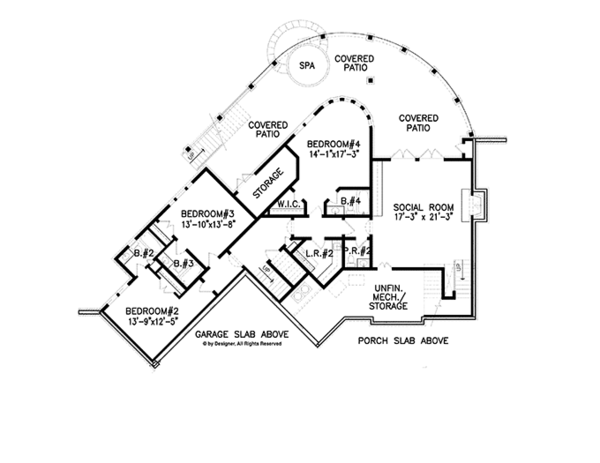 Craftsman Floor Plan - Lower Floor Plan Plan #54-366