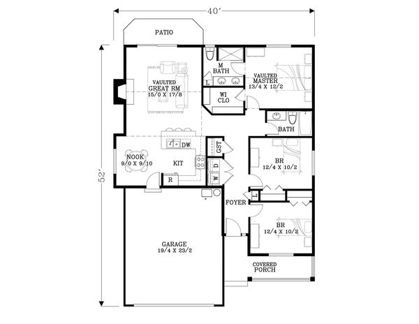 Craftsman Floor Plan - Main Floor Plan Plan #53-593