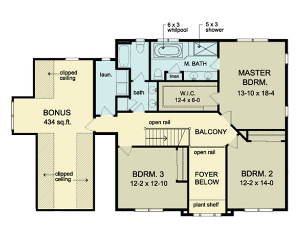 Colonial Floor Plan - Upper Floor Plan Plan #1010-38