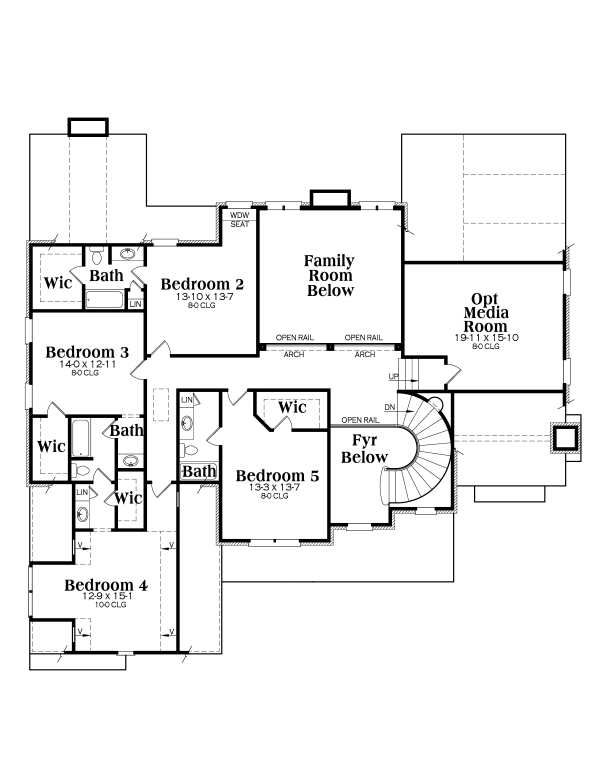 Traditional Floor Plan - Upper Floor Plan Plan #419-102