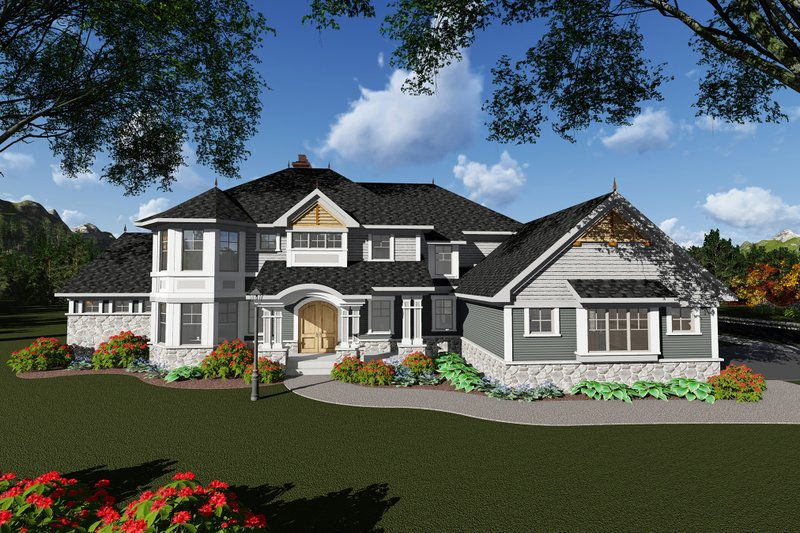 Craftsman Style House Plan - 5 Beds 5.5 Baths 4431 Sq/Ft Plan #70-1295 Exterior - Front Elevation