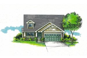 Architectural House Design - Craftsman Exterior - Front Elevation Plan #53-588