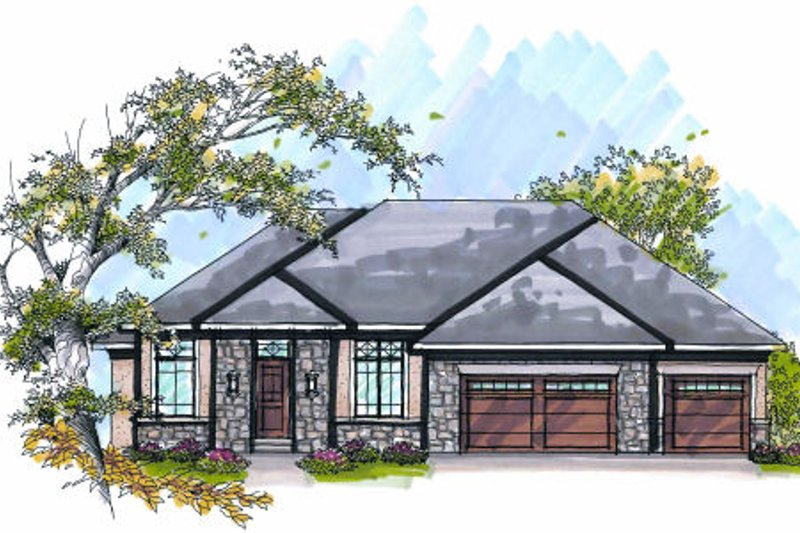 Dream House Plan - Bungalow Exterior - Front Elevation Plan #70-978