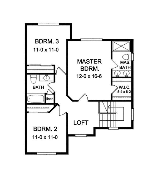Colonial Floor Plan - Upper Floor Plan Plan #1010-115