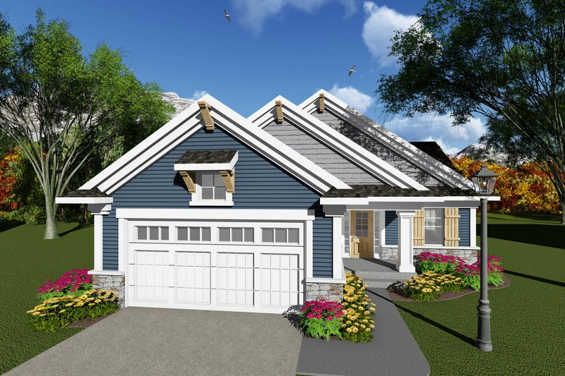 Ranch Exterior - Front Elevation Plan #70-1258