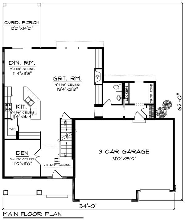 Craftsman Floor Plan - Main Floor Plan Plan #70-1250