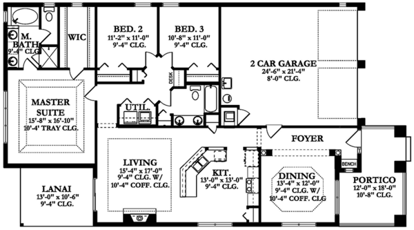 Craftsman Floor Plan - Main Floor Plan Plan #1058-136