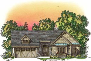 Craftsman Exterior - Front Elevation Plan #1016-75