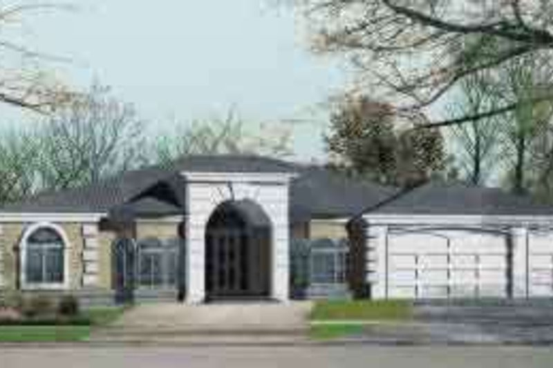Adobe / Southwestern Style House Plan - 5 Beds 3 Baths 2712 Sq/Ft Plan #1-1187 Exterior - Front Elevation