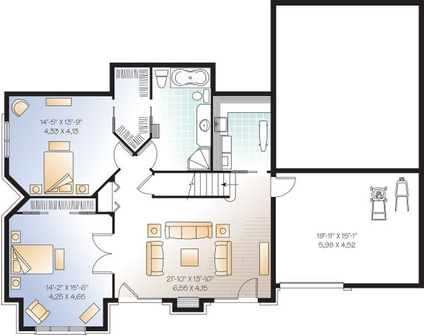 Craftsman Floor Plan - Lower Floor Plan Plan #23-419