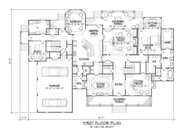 Architectural House Design - Country Floor Plan - Main Floor Plan #1054-85