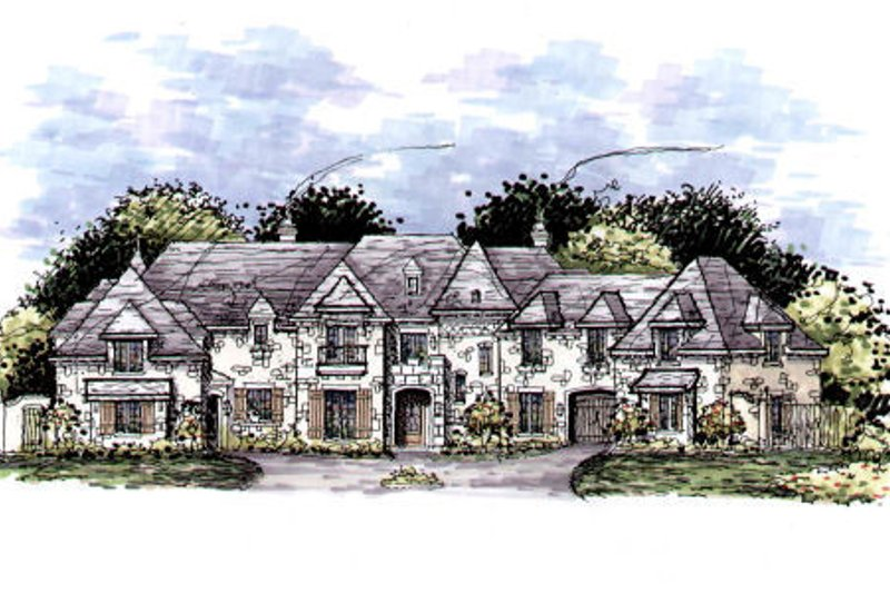 European Style House Plan - 6 Beds 6.5 Baths 8901 Sq/Ft Plan #141-320 Exterior - Front Elevation