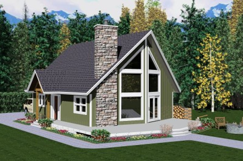 Cabin Style House Plan - 2 Beds 2 Baths 1677 Sq/Ft Plan #126-106 Exterior - Other Elevation