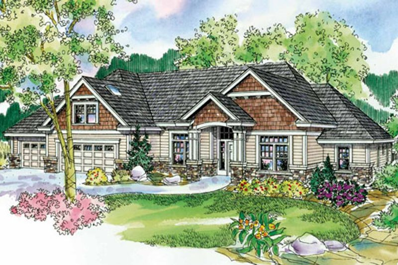Craftsman Style House Plan - 3 Beds 2.5 Baths 3112 Sq/Ft Plan #124-758 Exterior - Front Elevation
