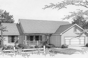 Ranch Exterior - Front Elevation Plan #112-112