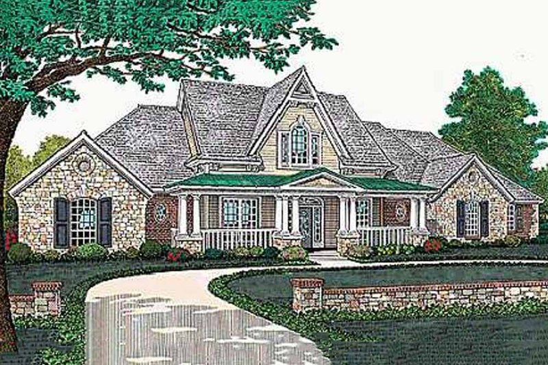 European Style House Plan - 4 Beds 3.5 Baths 3439 Sq/Ft Plan #310-503 Exterior - Front Elevation