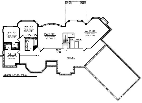 Ranch Floor Plan - Lower Floor Plan Plan #70-1472