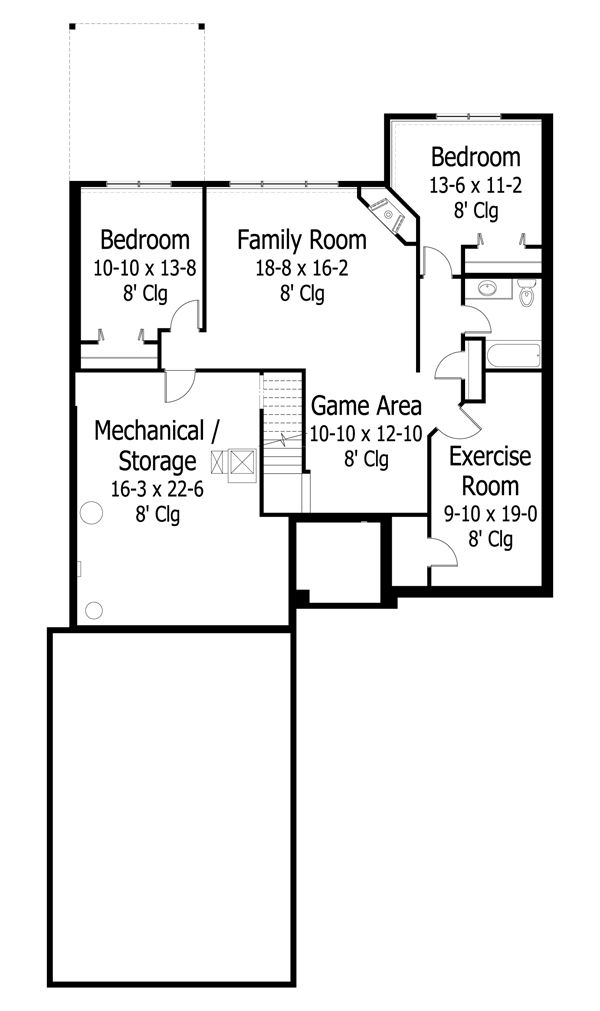 Craftsman Floor Plan - Lower Floor Plan Plan #51-471