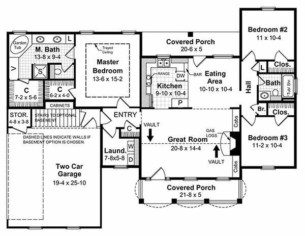 Southern Floor Plan - Main Floor Plan Plan #21-146