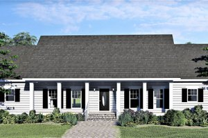 Southern Exterior - Front Elevation Plan #44-244