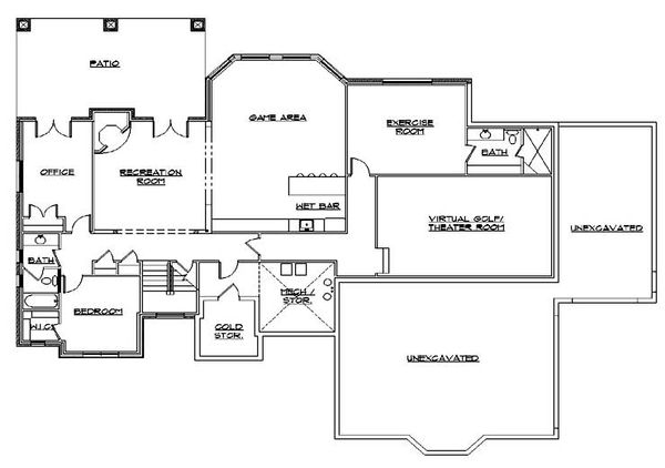 European Floor Plan - Lower Floor Plan Plan #5-353