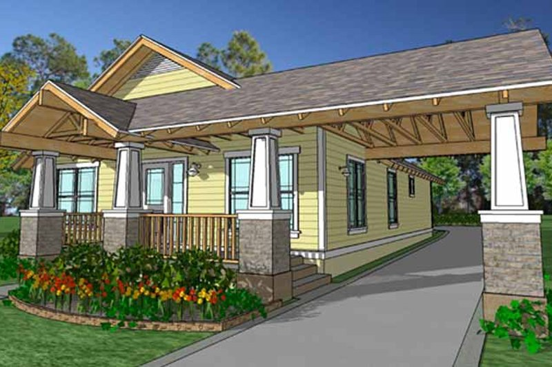 Craftsman Exterior - Front Elevation Plan #1007-19
