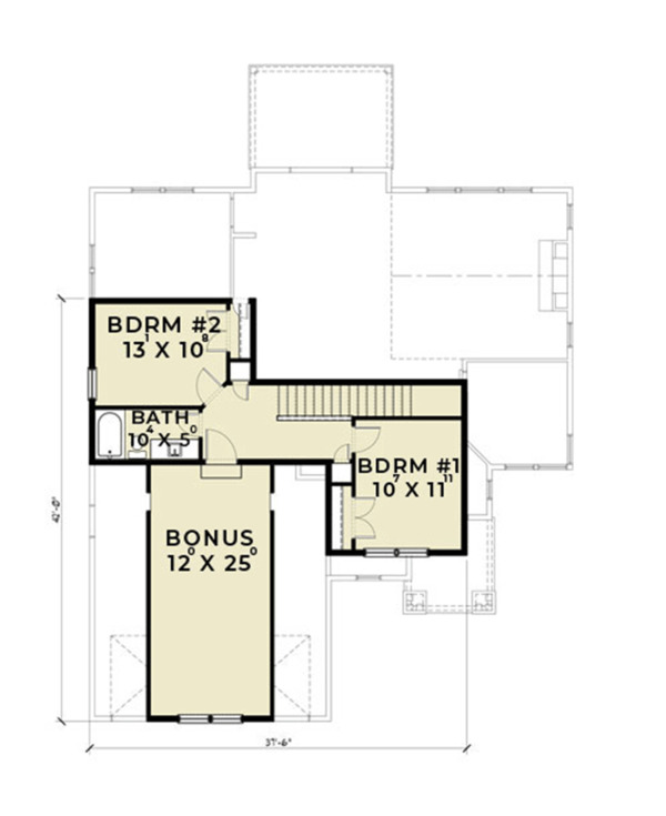 Ranch Floor Plan - Upper Floor Plan Plan #1070-28