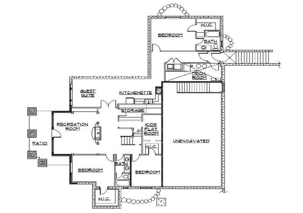 Bungalow Floor Plan - Lower Floor Plan Plan #5-386