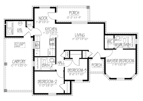 Ranch Floor Plan - Main Floor Plan Plan #1061-31