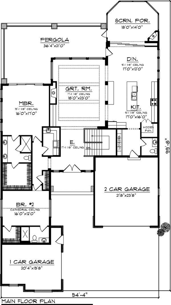 House Plan Design - Craftsman Floor Plan - Main Floor Plan #70-1055