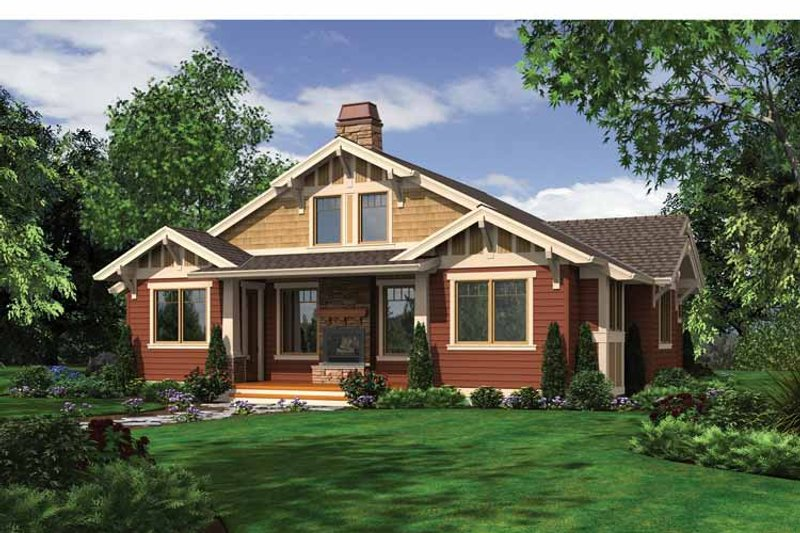 Craftsman Exterior - Rear Elevation Plan #132-532 - Houseplans.com
