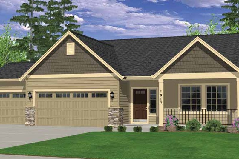 Ranch Exterior - Front Elevation Plan #943-21