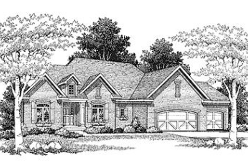 Traditional Style House Plan - 3 Beds 2.5 Baths 2427 Sq/Ft Plan #70-389 Exterior - Front Elevation