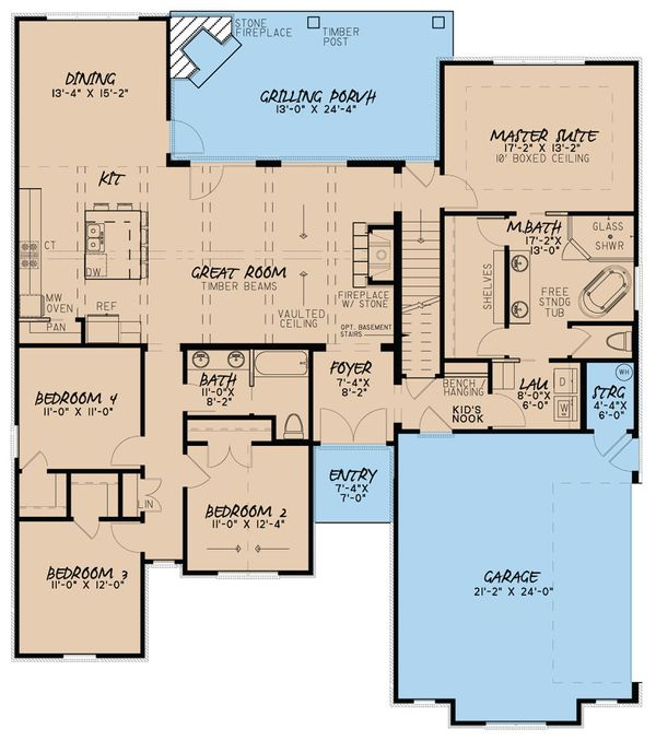 European Floor Plan - Main Floor Plan Plan #923-51