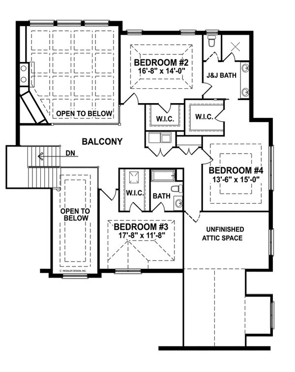 European Floor Plan - Upper Floor Plan Plan #1057-2