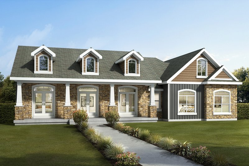 Craftsman Style House Plan - 3 Beds 2 Baths 1582 Sq/Ft Plan #1073-13 Exterior - Front Elevation