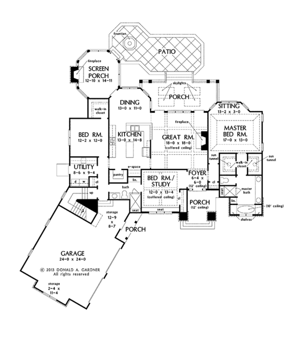 European Floor Plan - Main Floor Plan Plan #929-966