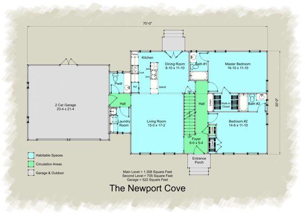 Architectural House Design - Colonial Floor Plan - Main Floor Plan #489-8