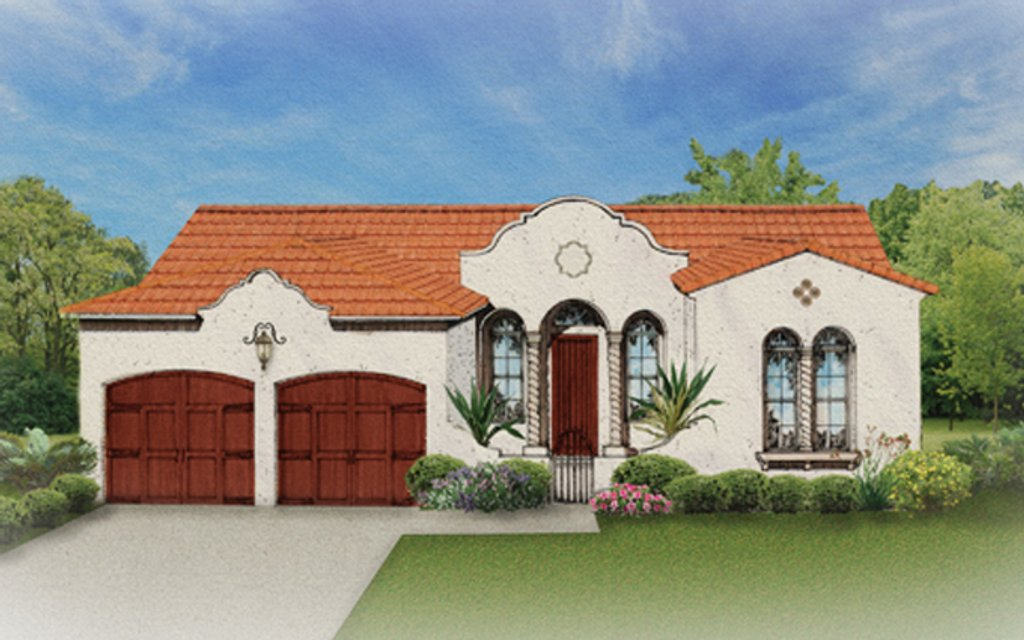 Mediterranean style house plan 3 beds 2 baths 1532 sq ft for Mission home plans