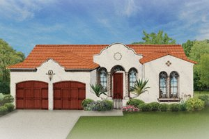 Mediterranean Exterior - Front Elevation Plan #1058-2