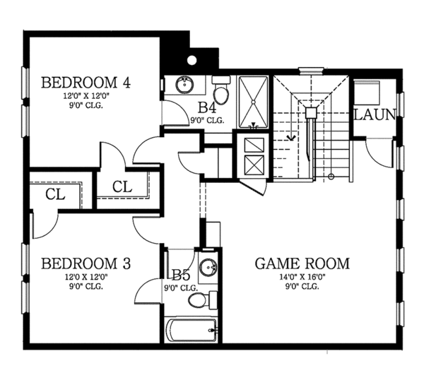 Country Floor Plan - Upper Floor Plan Plan #1058-80