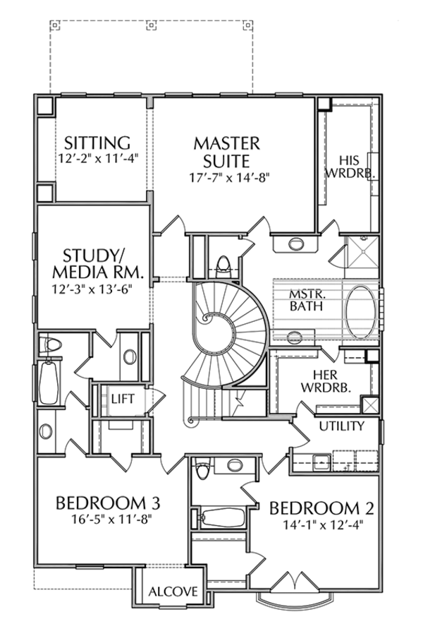 Mediterranean Floor Plan - Upper Floor Plan Plan #1021-14