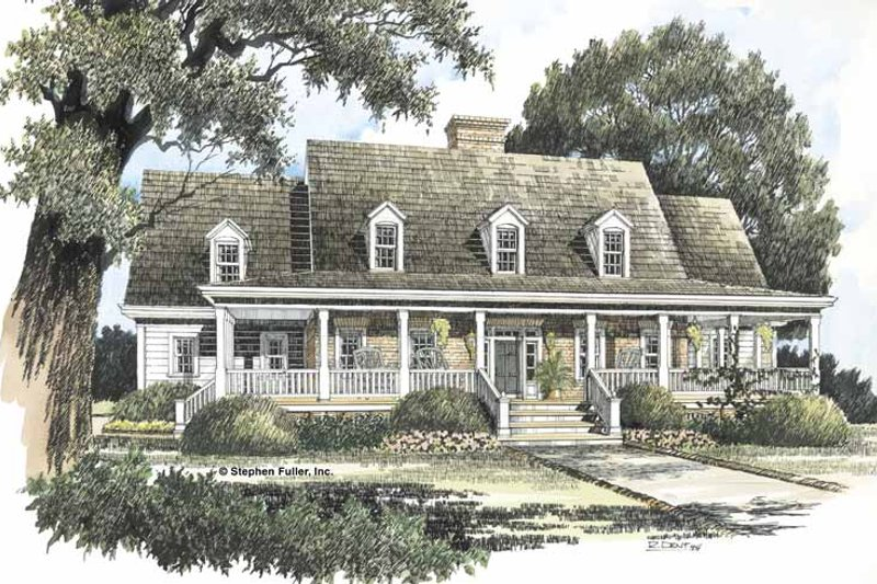 Country Exterior - Front Elevation Plan #429-199