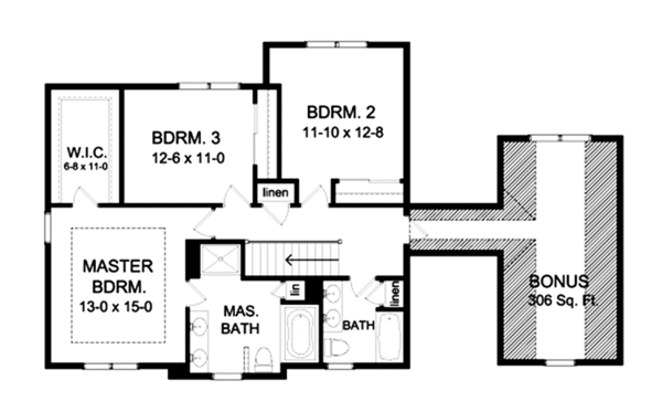 Craftsman Floor Plan - Upper Floor Plan Plan #1010-117