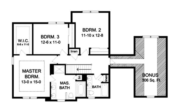 Craftsman Floor Plan - Upper Floor Plan Plan #1010-117