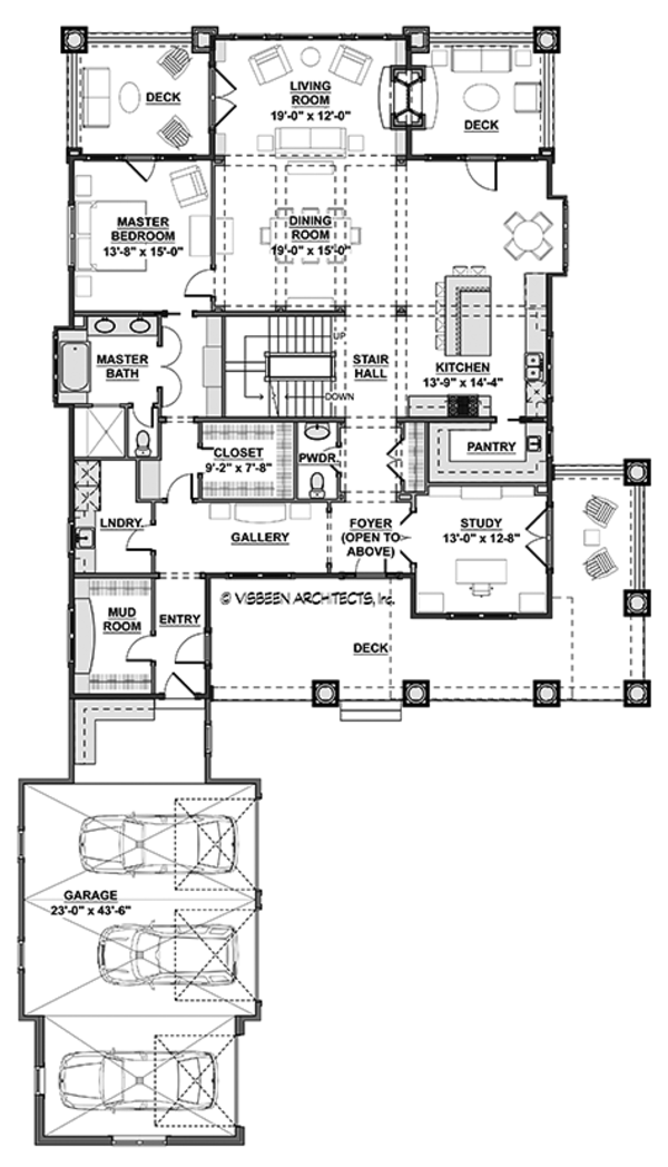 Colonial Style House Plan - 5 Beds 4.5 Baths 4852 Sq/Ft Plan #928-298 Floor Plan - Main Floor Plan