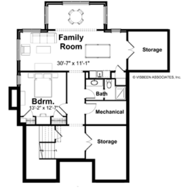Traditional Floor Plan - Lower Floor Plan Plan #928-107
