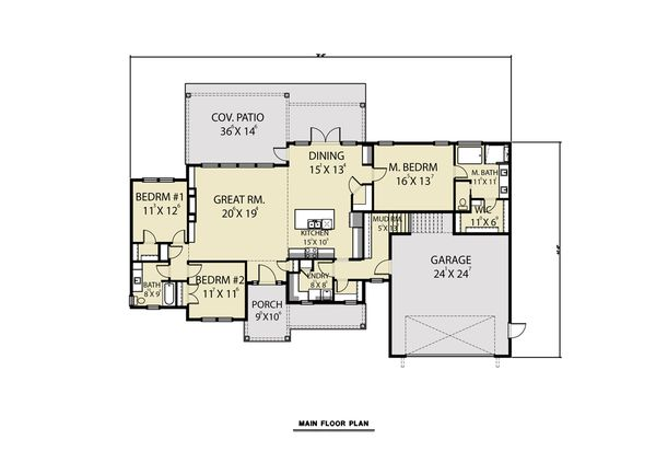 Farmhouse Floor Plan - Main Floor Plan Plan #1070-91