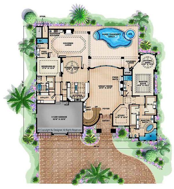 House Plan Design - Mediterranean Floor Plan - Main Floor Plan #1017-171