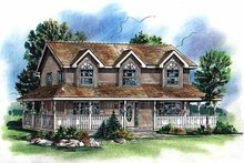 House Blueprint - Country Exterior - Front Elevation Plan #18-278